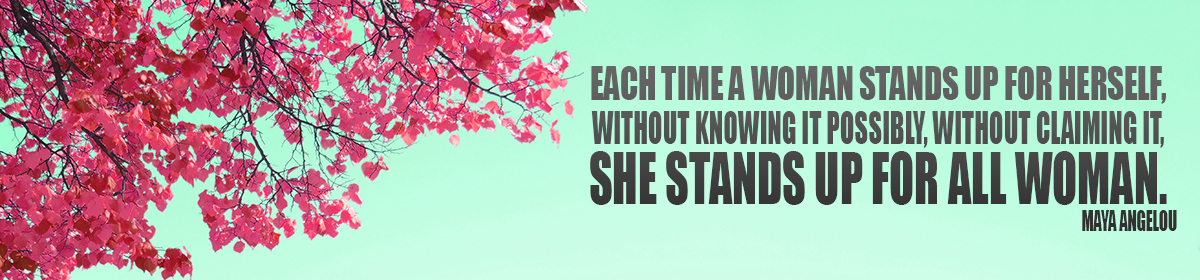 Banner Image with blue sky and pink flowered tree featuring quote from Maya Angelou