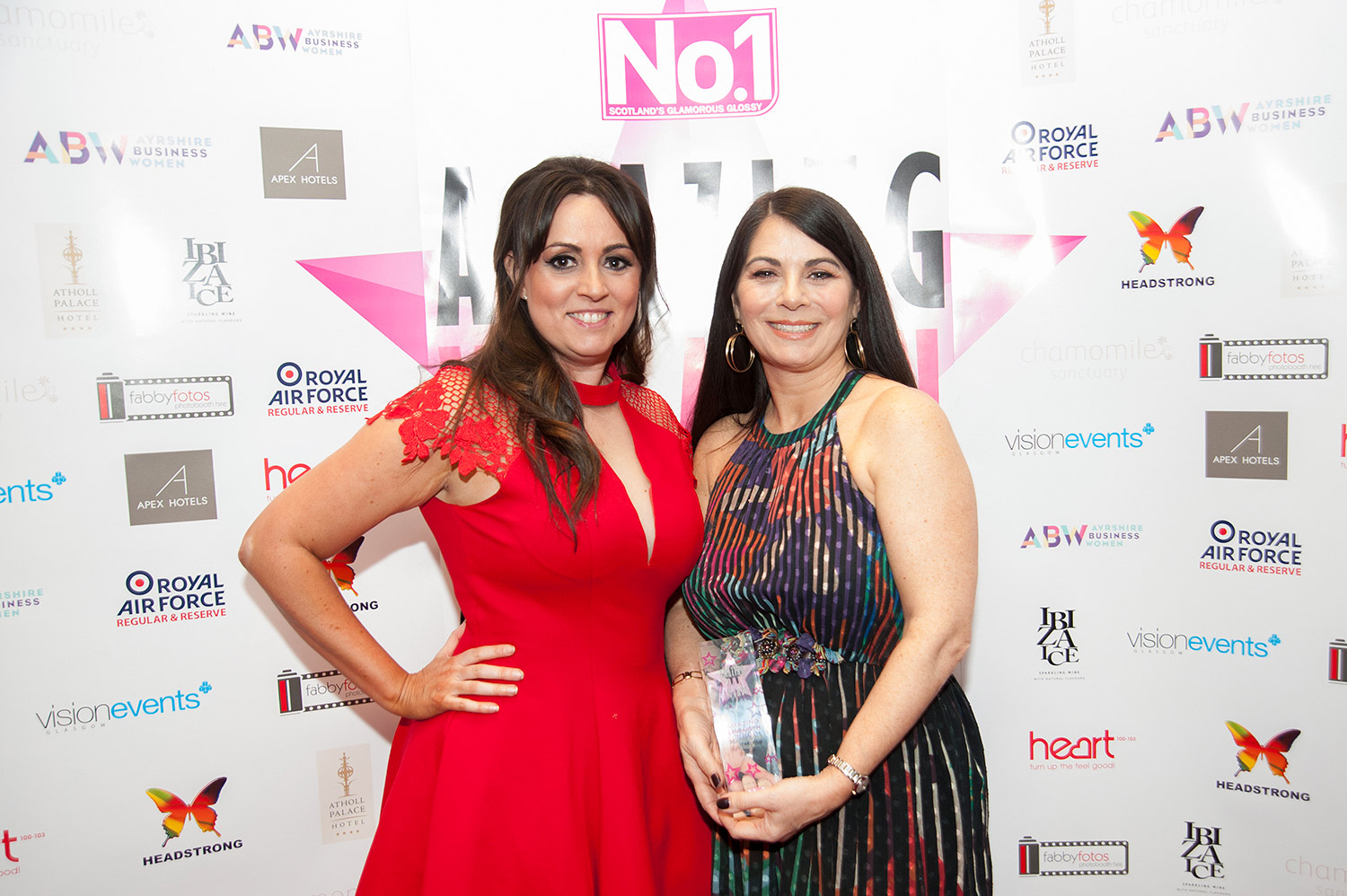 Madeleine Black standing with Nadine Hawkins (editor of No1magazine) at the Amazing Womens Award Ceremony